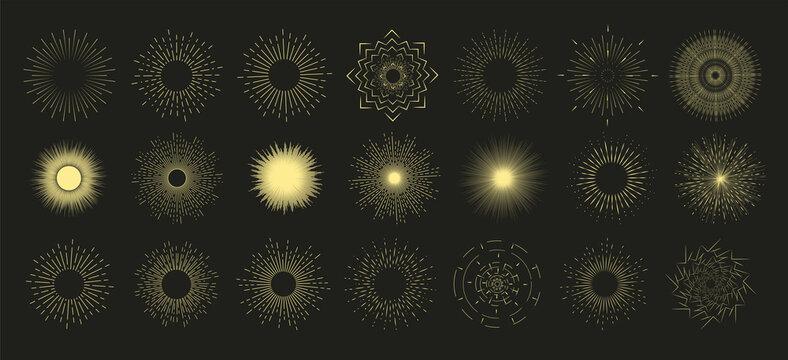 Hand drawn sunburst, vintage radial burst, abstract line sunshine. Collection sunburst set. Sunshine, fireworks or sunset sunbeam blast retro. Glitter boom emblem art icons vector illustration