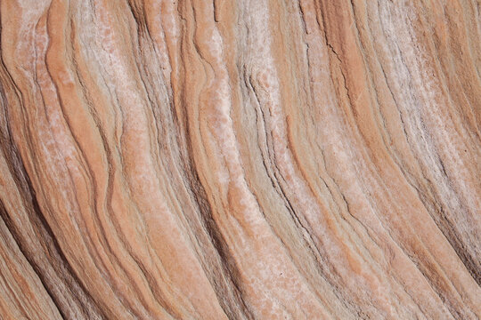 Closeup of rich colors, layers and textures of red rock in Utah