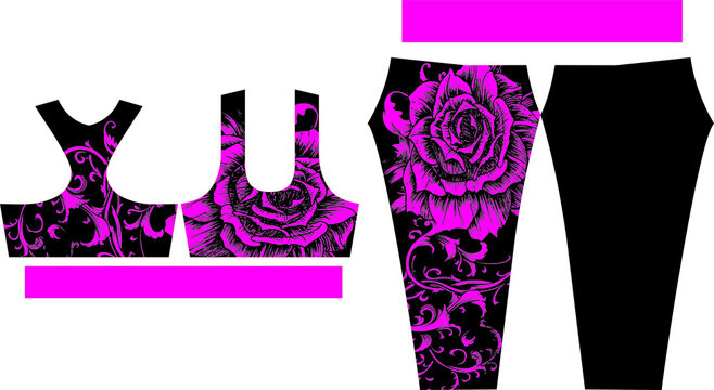 Women Leggings and Sports Bras design adjust in pattern vectors