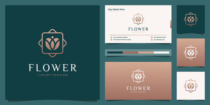 Elegant flower abstract luxury beauty salon, fashion, skincare, cosmetic, yoga and spa products. Minimalist logo design and business card.