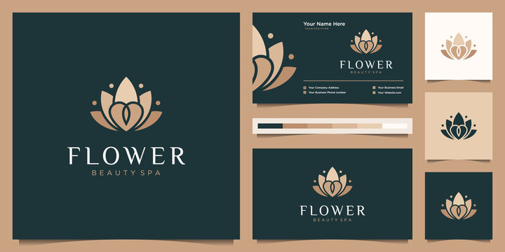 Flower lotus luxury logo design and business card template. beauty flower liner logo feminine with luxury color