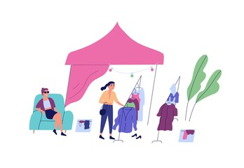 Female choosing clothes at rag fair or street market vector flat illustration. Buyer touch apparel on hanger, seller sit on armchair at outdoor shop or boutique isolated. Stall or tent at marketplace
