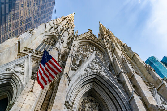 New York, USA - May 26, 2018: St Patrick's Cathedral in New York City. It is a prominent landmark in the city.