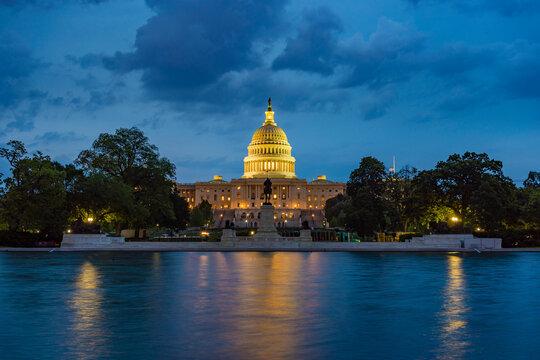 United States Capitol in Washington DC at night
