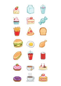 Collection of pixelated food icons