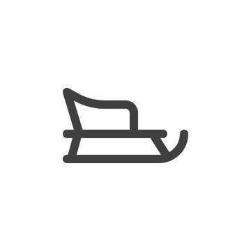 Christmas sled line icon. linear style sign for mobile concept and web design. Santa's sleigh outline vector icon. Symbol, logo illustration. Vector graphics
