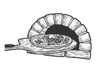 pizza and oven sketch raster illustration