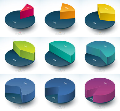 Set of infographic isometric pie chart templates. Share of 10, 20, 30, 40, 50, 60, 70, 80 and 90 percent.