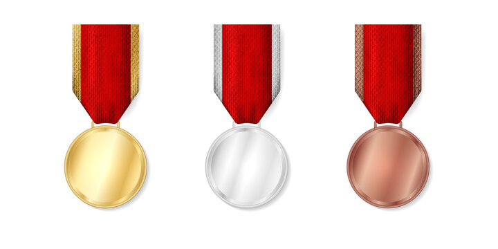 Golden, silver, bronze military medal with red ribbon on white background. Champion winner awards mock up template for 1, 2, 3 place. Vector illustration
