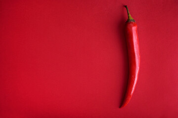 Food background flat lay. Red hot chili pepper on red background from above. Minimal creative still life with mexican spicy paprika.