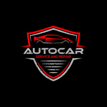 auto modification car logo badge design vector with rustic style