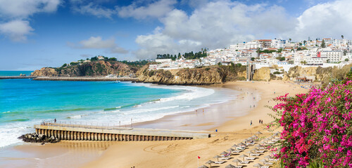 Wall Mural - Landscape with old town Albufeira and sandy city beaches in Algarve, Portugal