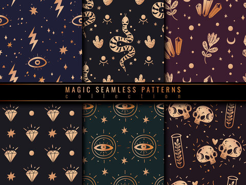 Magic icons doodles golden seamless patterns set