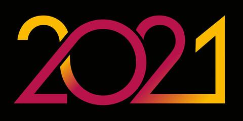 Carte de vœux au graphisme dynamique pour présenter l'année 2021 avec une succession de courbes de couleur rouge et jaune sur un fond noir.