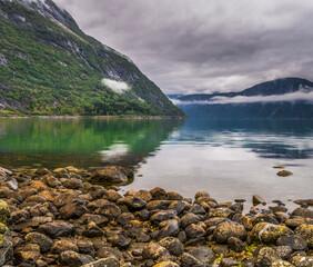 Eidfjord, Eid fjord w miejscowości Eidfjord w Norwegii