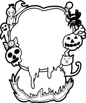 The poison pot on Halloween night with smoke as a message board.