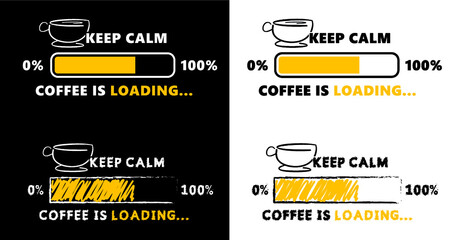 Slogan it's coffee o'lock time, caffeine loading. Flat vector. Motivation, inspiration message moment. Word for possitive emotions quotes for banner or wallpaper. Relaxing and chill. Quote coffee cup