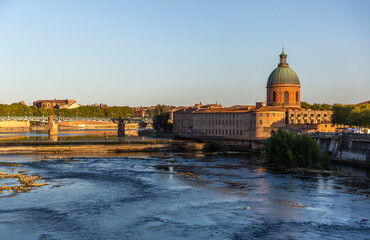 View of the Toulouse city center, Saint Joseph Dome and River Garonne, France