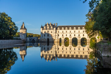 Sunset view of Chenonceaux romantic castle, one of the best-known chateaux of the Loire valley, France
