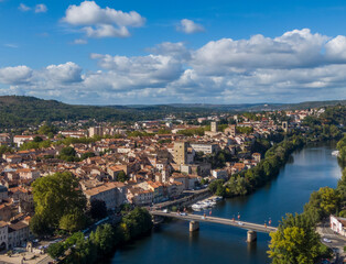 Aerial panorama of medieval houses in the old town of Cahors, France