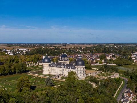 Aerial view of Chateau de Valencay, Loire Valley, France