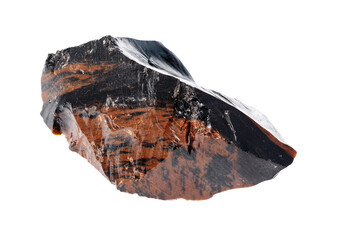 raw Mahogany Obsidian (volcanic glass) cutout on white background