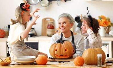Door stickers Wall Decor With Your Own Photos Granddaughters scaring grandmother during Halloween celebration.