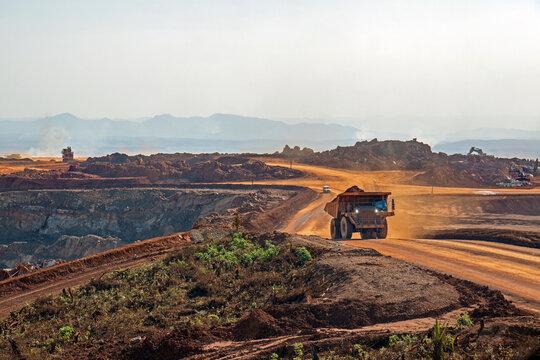 Dump truck in an open pit mine in Africa