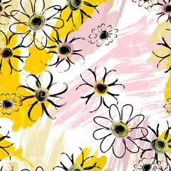 flowers background, seamless, with paint strokes and splashes