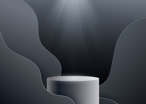 3d black podium vector background with spotlight light from above and wave shapes. Realistic dark backdrop with round pedestal. Copy space at the top