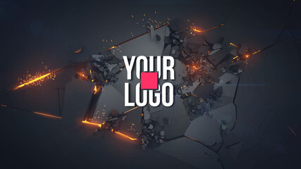 Explosion and flying debris, fire and sparks. Template for your logo or text. All basic elements are on separate layers for easy handling. You can easily replace the text with your logo. Vector