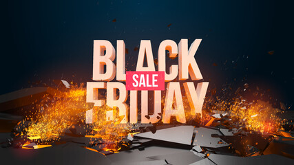Black Friday sale, discount. Vector illustration. In my portfolio you can find an excellent 3D animation of this banner resolution 1920x1080. If you have any questions do not hesitate to write me