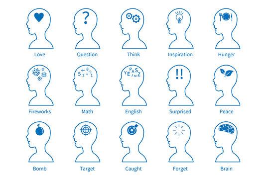 頭脳 脳 心理 アイコン 心理学  頭 AI IT 知識 知恵 機械 素材 イラスト 線 線画