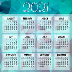 Abstract vector calendar for 2021 year  Week starts from sunday