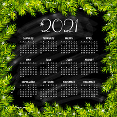 Calendar for 2021 with christmas background. Vector illustration