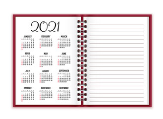 Notebook paper with calendar for 2021 vector background