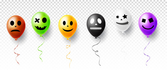 Halloween vector illustration with funny characters air balloons isolated on transparent background