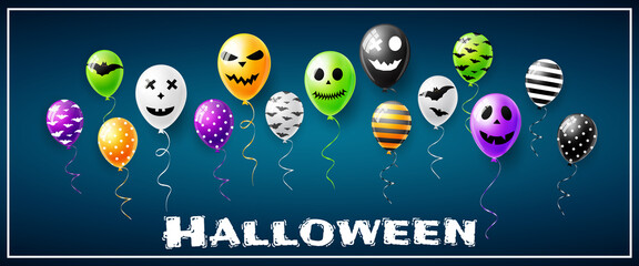 Happy Halloween vector illustration with scary air balloons for banner or poster