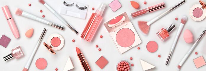 Beauty cosmetic makeup background. Fashion woman make up product, brushes, lipstick, nail polish...