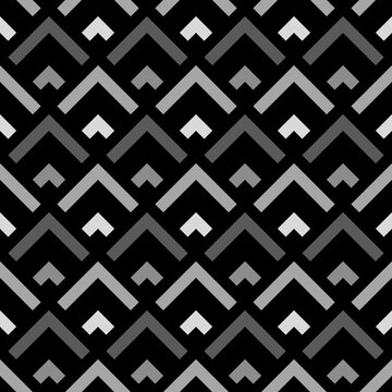 Repeated grey angle brackets on black background. Seamless pattern design. Chevrons abstract artwork. Scallop ornament. Image with scales. Modern japanese scallops motif. Squama image. Art deco vector