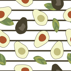 Avocados, half avocados and half avocados without seeds seamless pattern