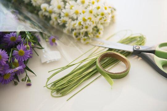 Studio shot of bouquets preparation