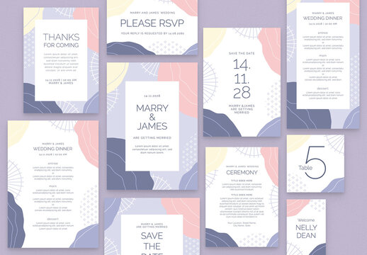 Wedding Stationery Suite Layout with Abstract Pastel Style