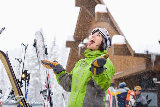 Portrait of woman enjoying snow