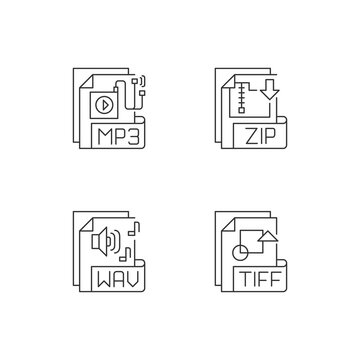 File types pixel perfect linear icons set. MP3. ZIP. WAV. TIFF. Audio, compressed, text files. Customizable thin line contour symbols. Isolated vector outline illustrations. Editable stroke