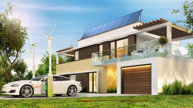 Ecological house with solar panels, wind turbines and electric car