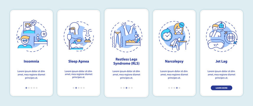 Sleep disorder types onboarding mobile app page screen with concepts. Problem with nighttime rest walkthrough 5 steps graphic instructions. UI vector template with RGB color illustrations