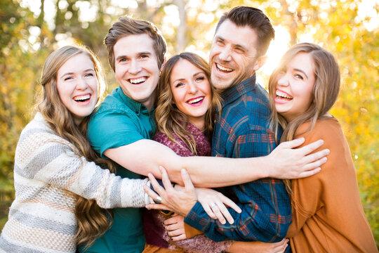 Portrait of five smiling friends