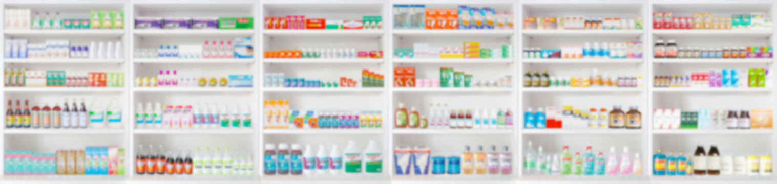 pharmacy drugstore shelves blur pharmaceutical medicine product background