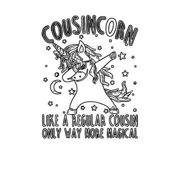 cousins matching gift for unicorn theme birthday unisex baseball unicorn design Coloring book animals vector illustration